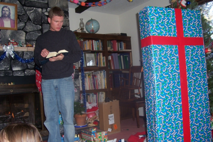 Andy getting ready to open a gift at Christmas 2007